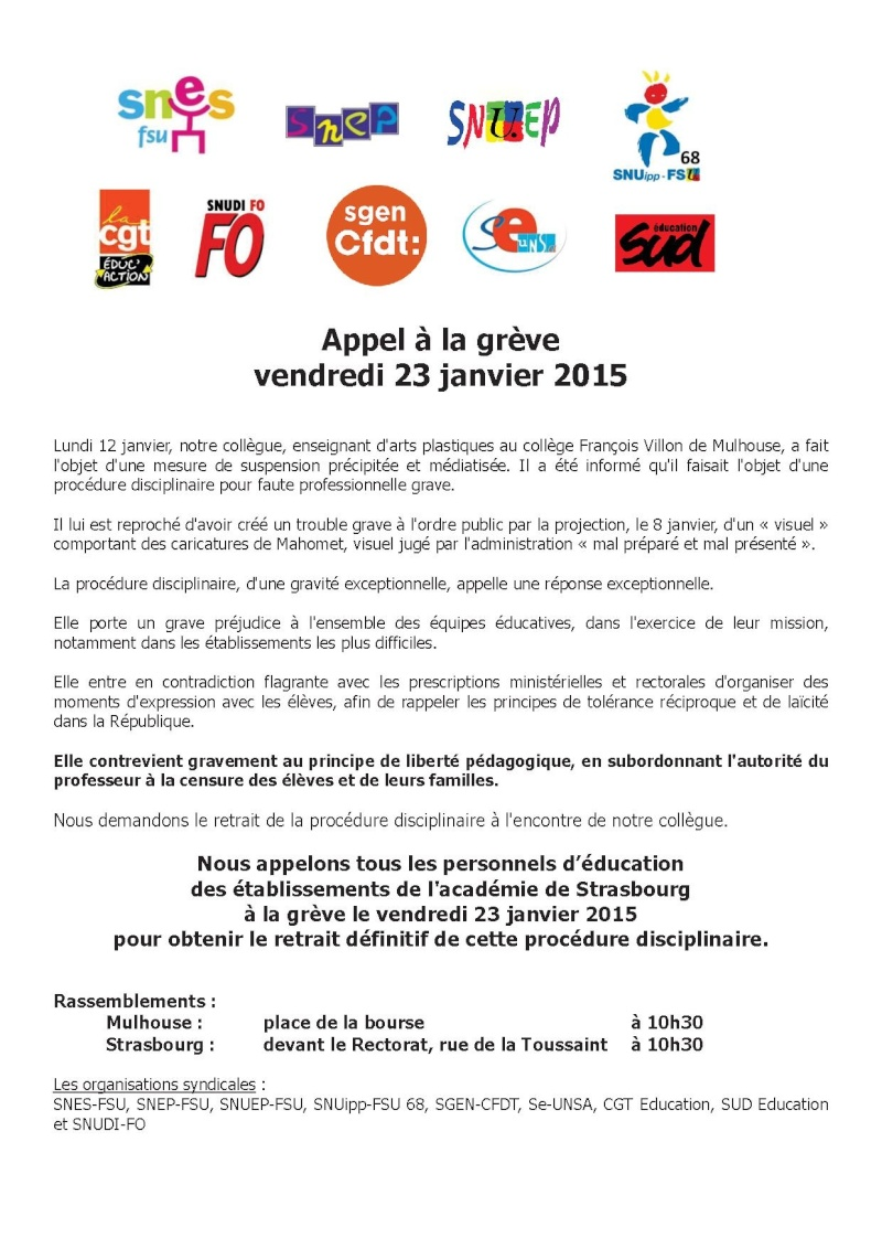 [Mulhouse - collège Villon]  « Un enseignant suspendu pour avoir montré des dessins de Charlie » (lemonde.fr) - Page 17 Appel_10