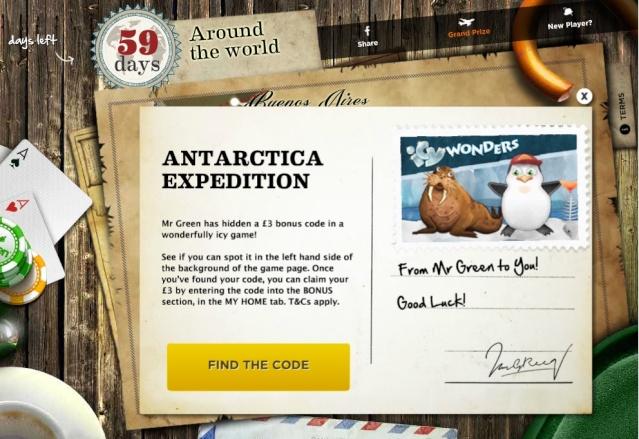 £3 Free Cash Bonus At Mr Green! Antarctica Expedition Find The Code Inside Mrgree10