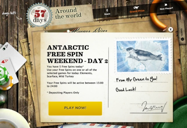 Saturday 5 Spins Antarctic Free Spin Weekend At Mr Green Casino - 06.07.2013 Mrgree12