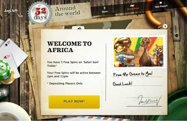 MrGreen 5 Free Spins On Safari Sam - Welcome To Africa 11.07.2013 Mrgree15