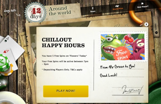 MrGreen 5 Free Spins On Video Slot 'Flowers' - Chillout Happy Hours 21.07.2013 Mrgree20