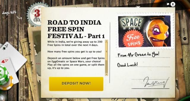 MrGreen Road To India – Free Spin Summer Thursday-Sunday 25-28.07-2013 Mrgree22