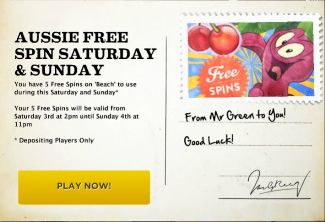 MrGreen 5 Free Spins On 'Beach' Videoslot – Saturday-Sunday 03-04.08-2013 Mrgree24