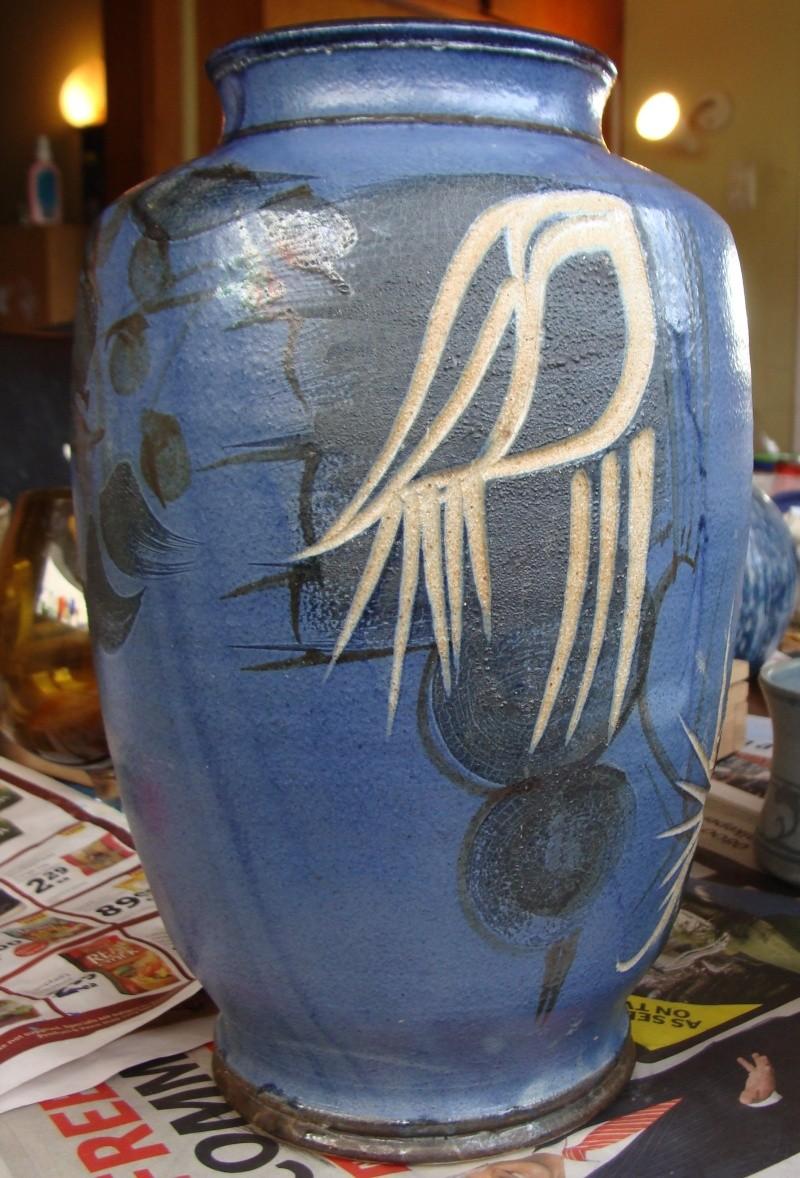 large incised blue vase, no mark, very distinctive style Dsc05010