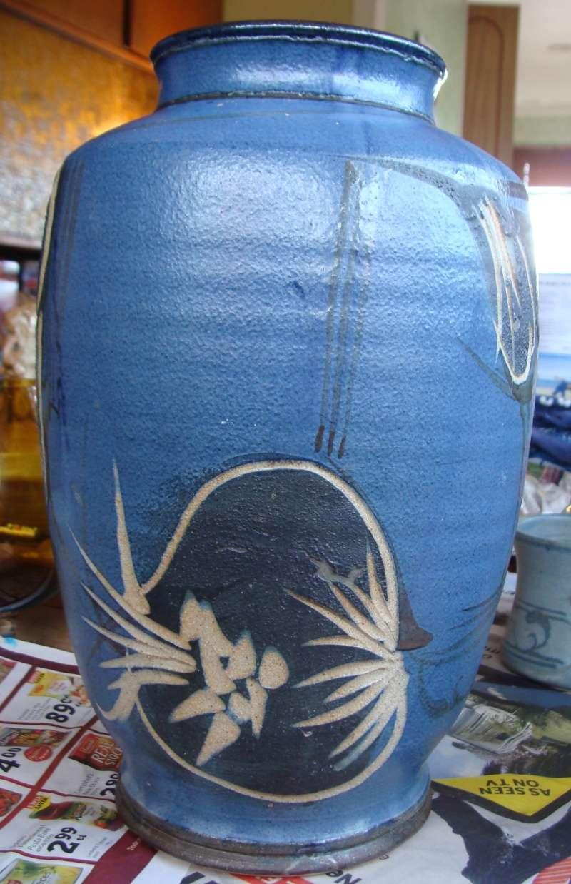 large incised blue vase, no mark, very distinctive style Dsc05011