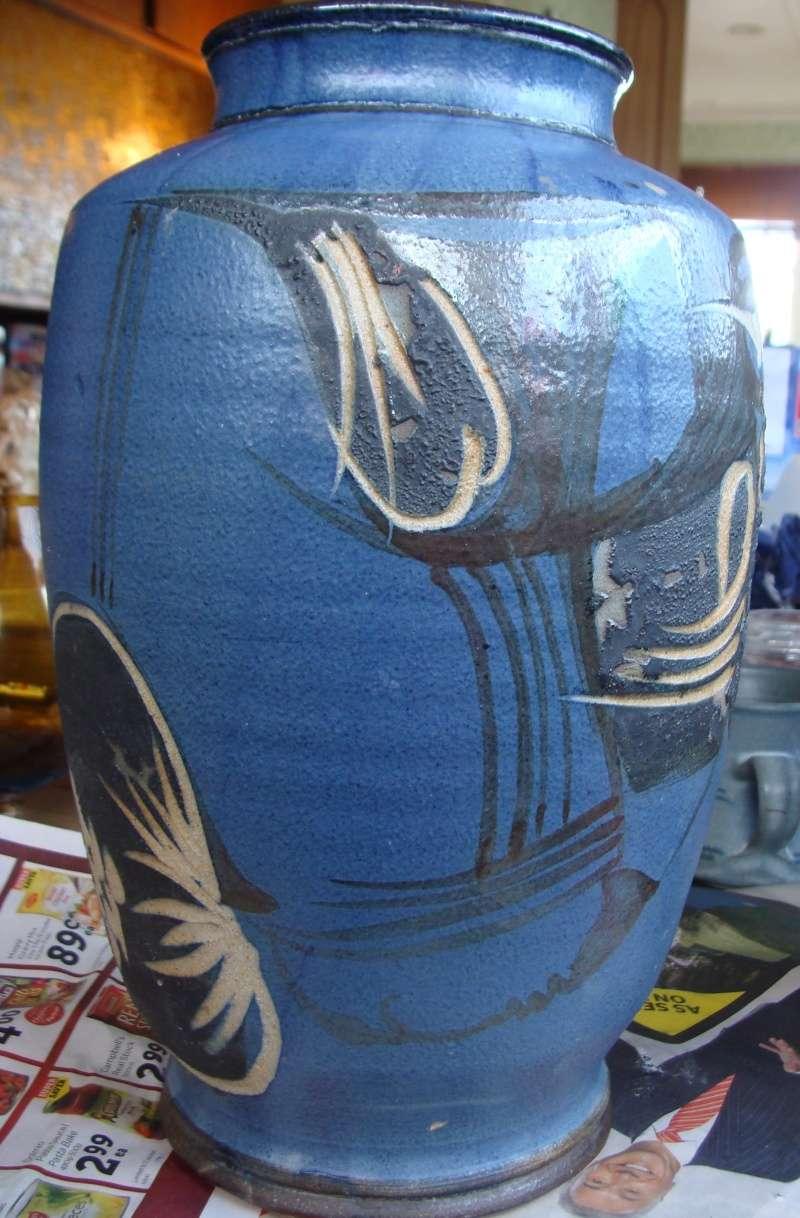 large incised blue vase, no mark, very distinctive style Dsc05012