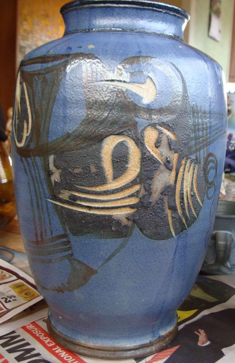 large incised blue vase, no mark, very distinctive style Dsc05014