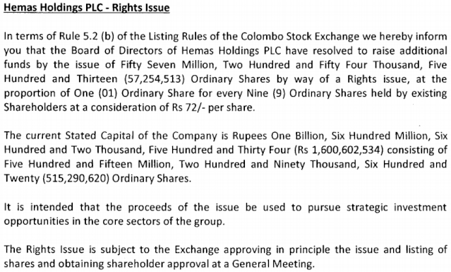 Hemas Holdings Rights Issue 1:9 @ Rs. 72/= Hhl11