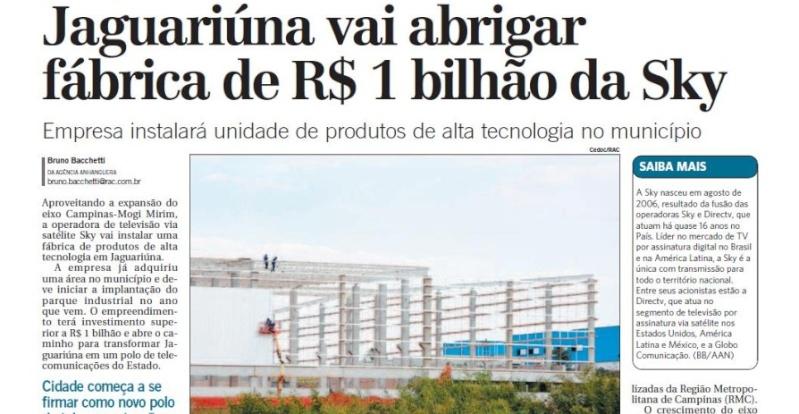 [SKYTEC] SKY anuncia construção de centro de transmissão em Jaguariúna Screen17