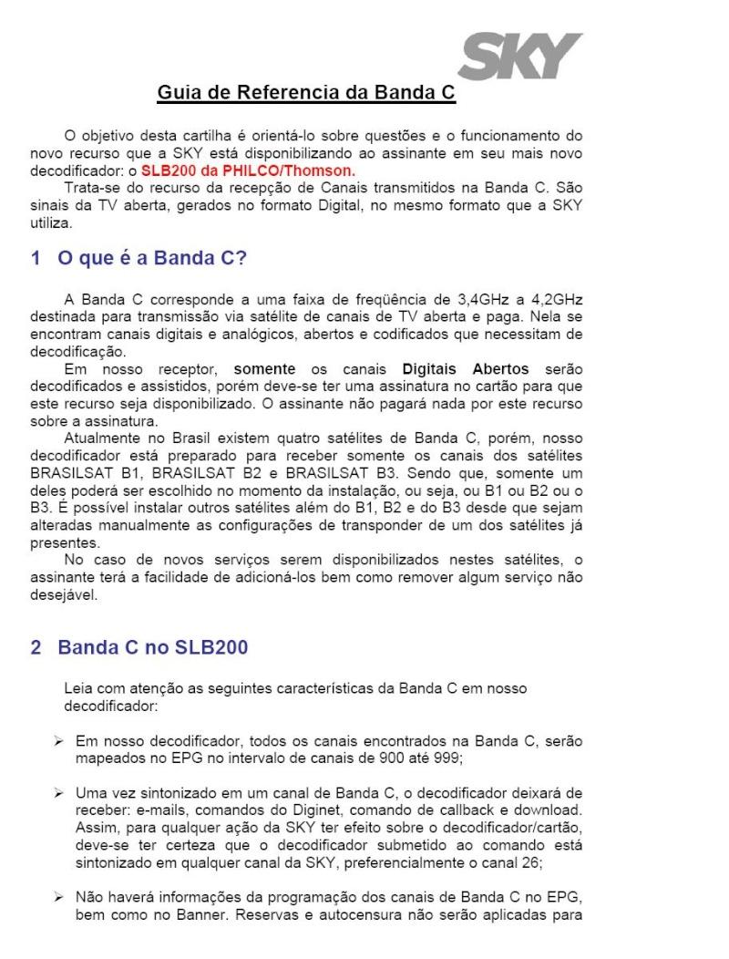 Guia + Tutorial Ilustrado canais Banda C na SKY Skyban10