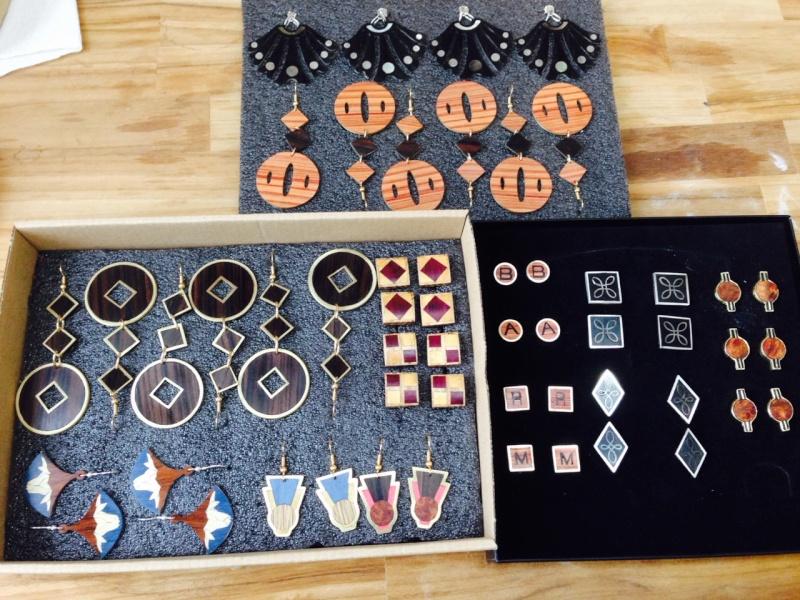 Boucles d'oreilles, boutons de manchettes, métal, bois à quatre mains Fullsi10