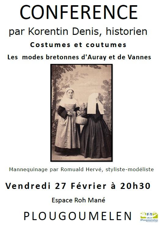 Conférence : Les modes bretonnes d'Auray et de Vannes Affich10