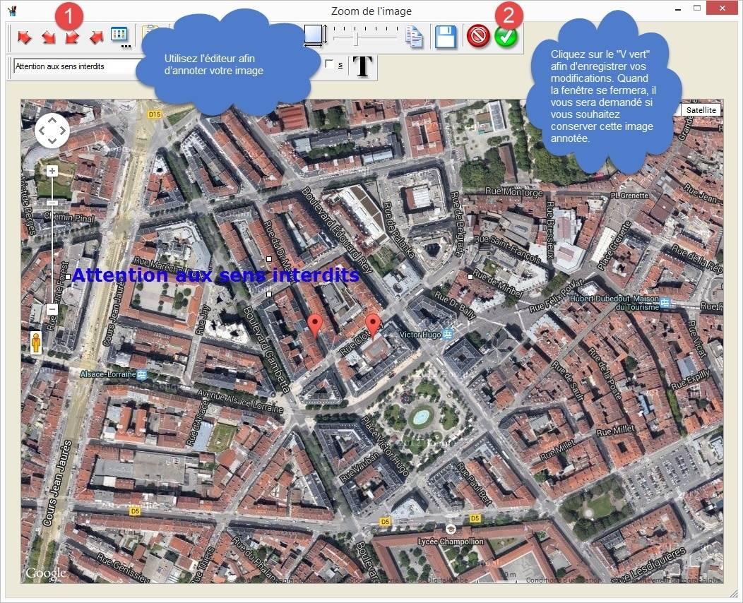 GoogleAnnote : annoter des images issues de GoogleMaps Ecran310