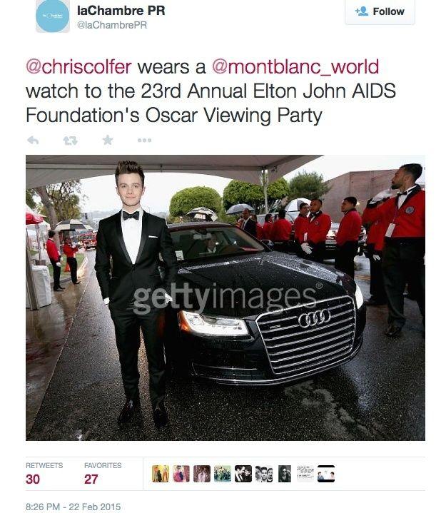 Chris at the Elton John Oscar Viewing Party 2015 - Page 2 Lacham11