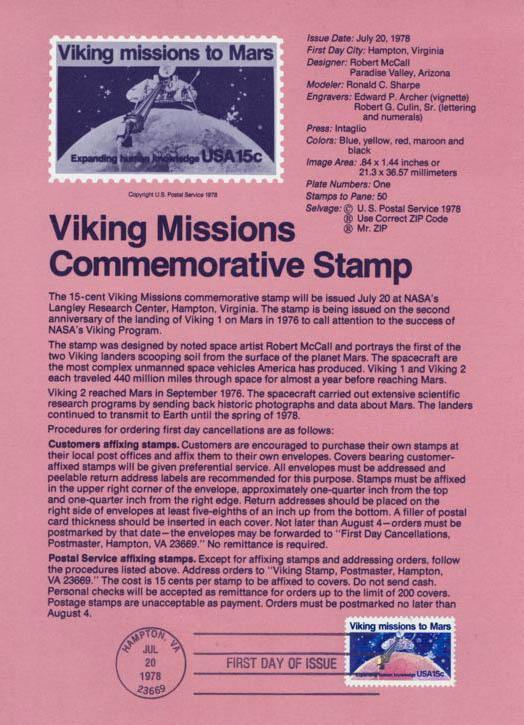 Philatélie spatiale USA - 1978 - Viking sur Mars Viking12