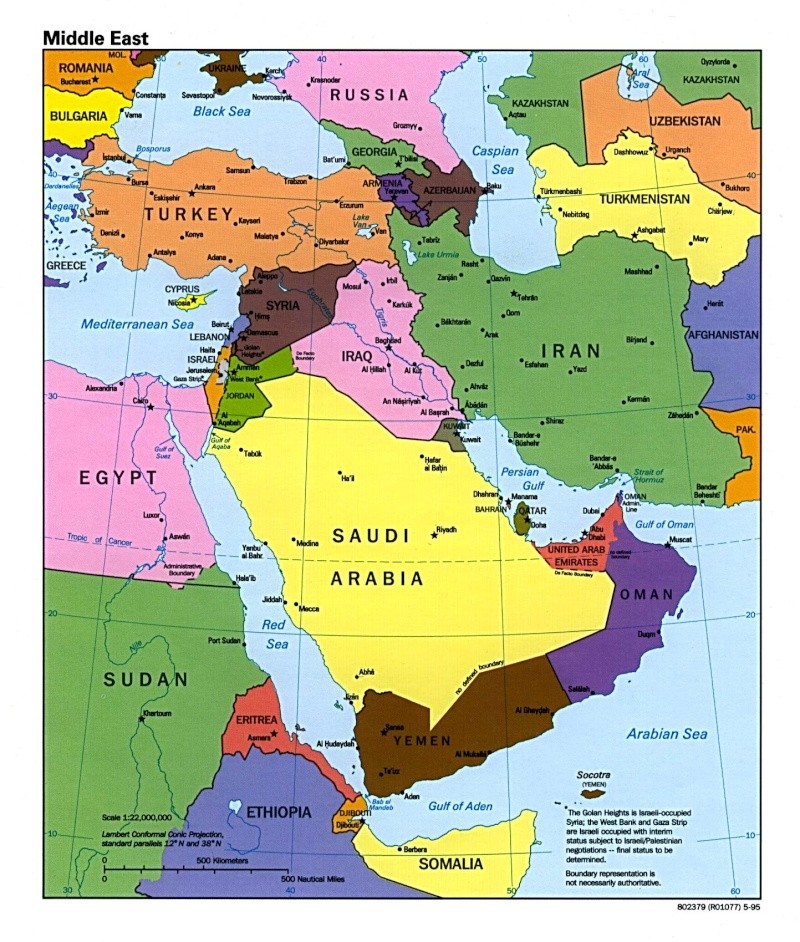 Map of Modern Day Middle East