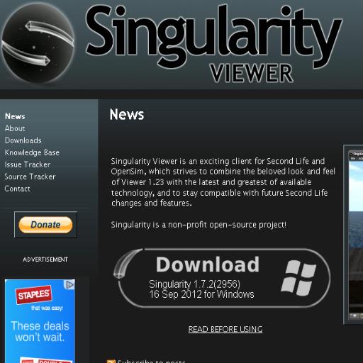 Second Life Viewers ➩ Singularity Viewer 410