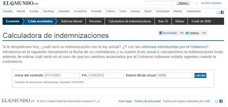 Cálculo de Indemnización por Despido Improcedente tras la Reforma Laboral 2012 Calcul10
