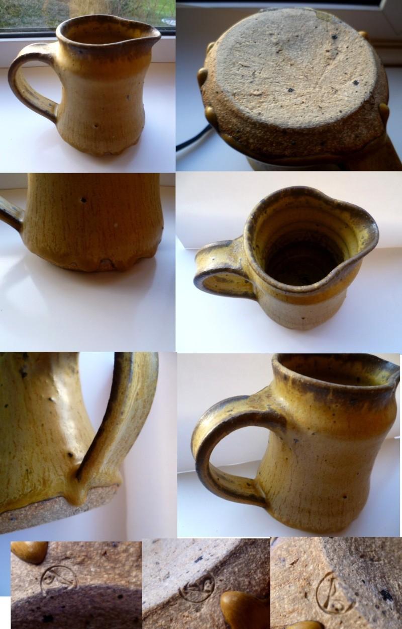 Small Stoneware coil made jug with mustard matte lava glaze Adrib10