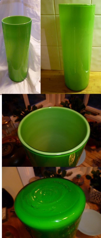 Large Clear Cased Green Cylinder Vase  Agreen10