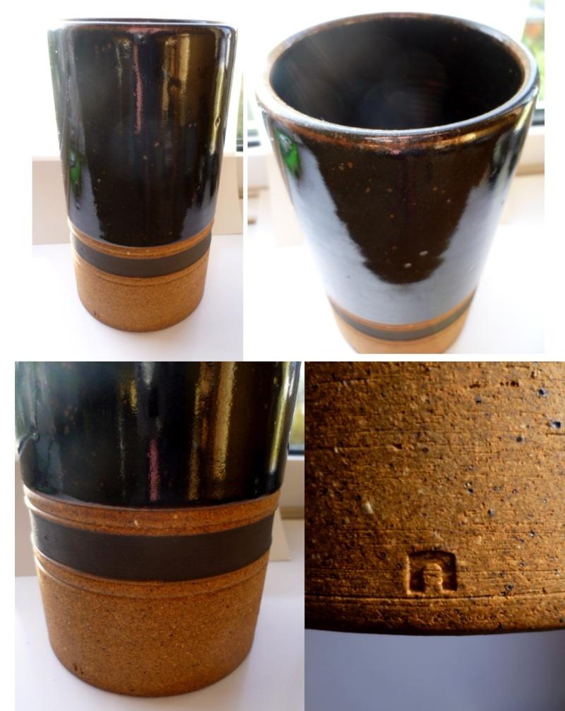 Deep brown part glazed cylinder vase with impressed N - Habitat? Ahab10