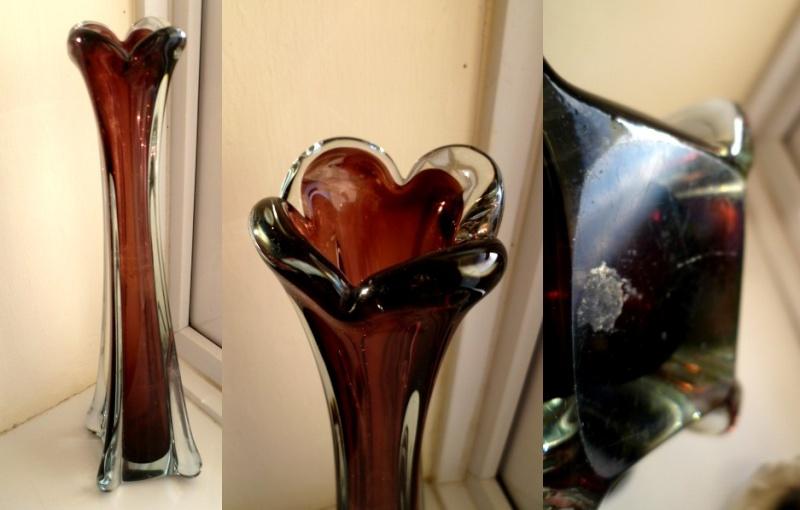 31 cm clear cased purple stem vase. Italian style finish on base Ait10
