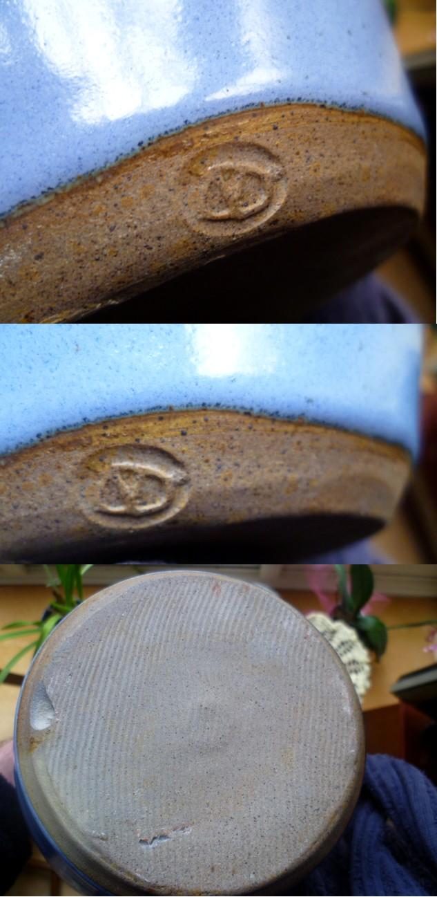Large stoneware blue dribble glaze vase incised mark (ND) Avase10