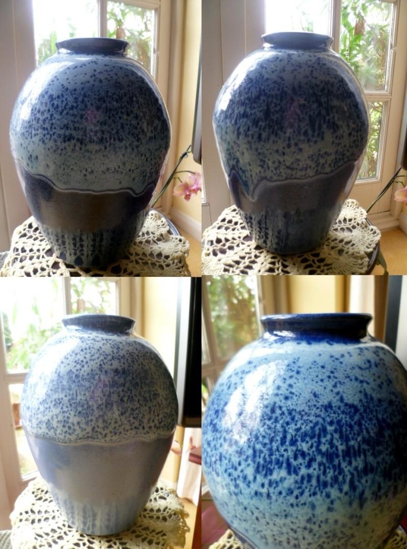 Large stoneware blue dribble glaze vase incised mark (ND) Avase110