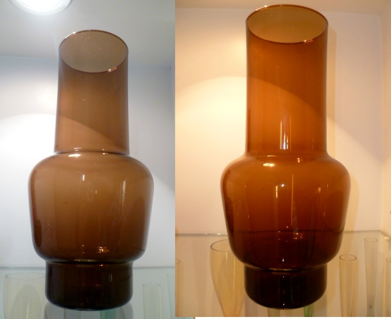1960/70's thing brown glass vase with interesting shape Awho10