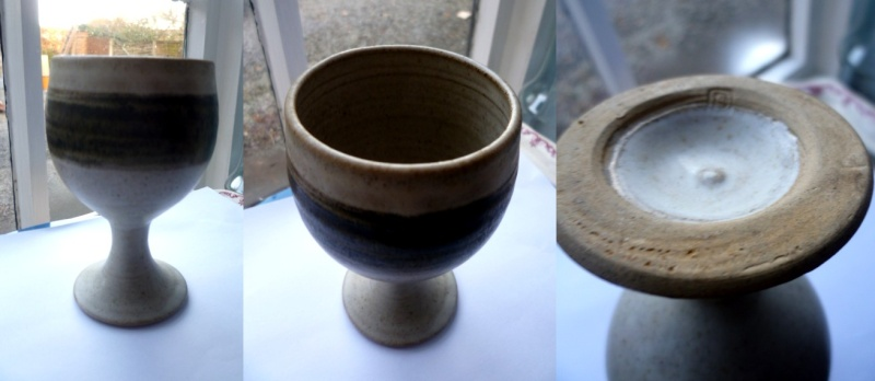 Stoneware Goblet impressed with DS or DG Ds10