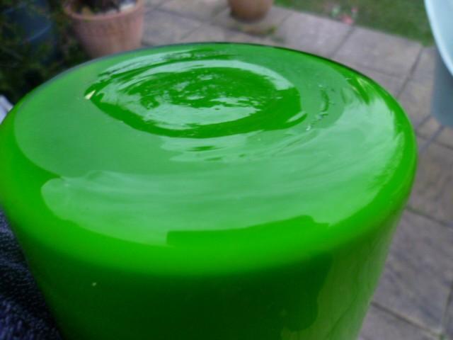 Large Clear Cased Green Cylinder Vase  P1090310