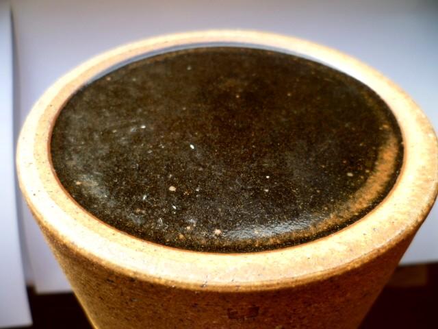 Deep brown part glazed cylinder vase with impressed N - Habitat? P1100110