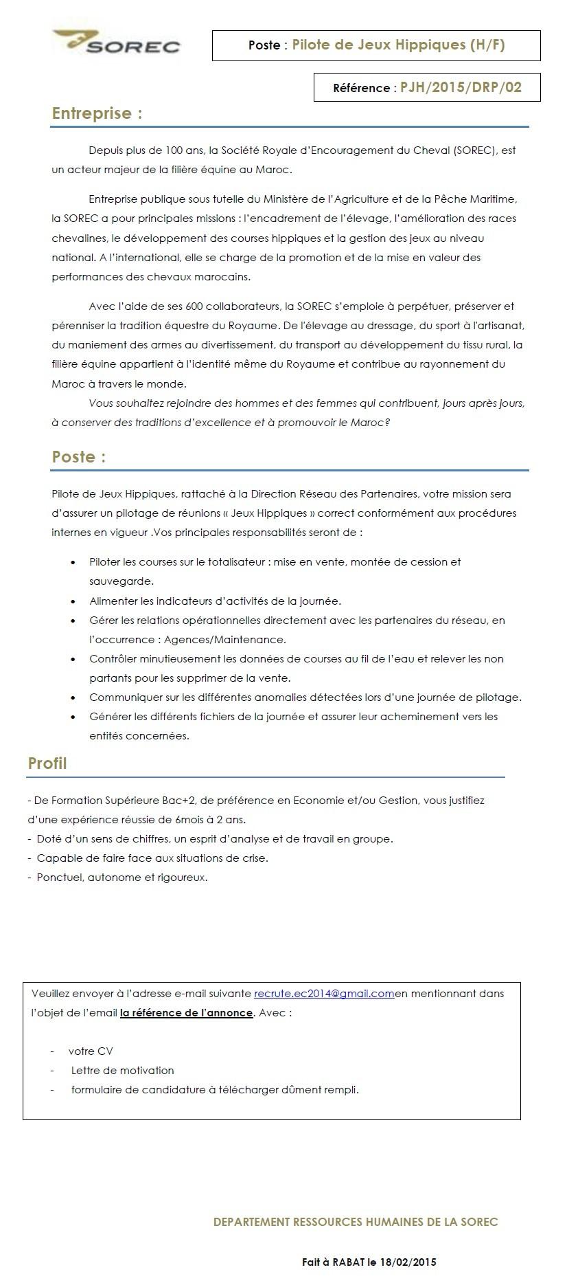 الشركة الملكية لتشجيع الفرس : مباراة لتوظيف مستشار هاتفي (2) و تقني (3) و مسؤول عن التسويق الرقمي (1) و منشط تجاري (1) آخر أجل لإيداع الترشيحات 15 مارس 2015 Concou82