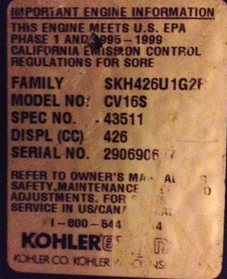 15 hp kohler Cv16s14