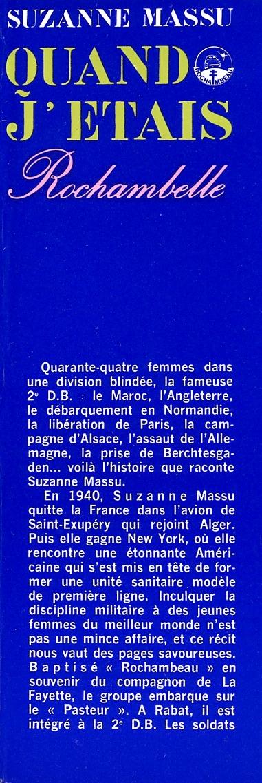 Suzanne MASSU - Quand j'étais Rochambelle Img86811
