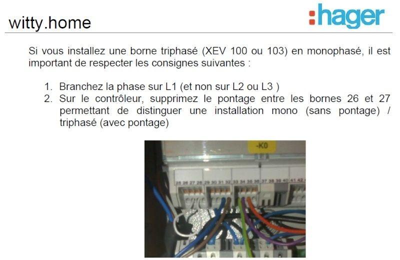 Borne Hager XEV100 branchée en monophasé Extrai10