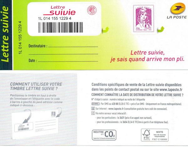 """Nouveau timbre """"Lettre suivie"""" 121"""
