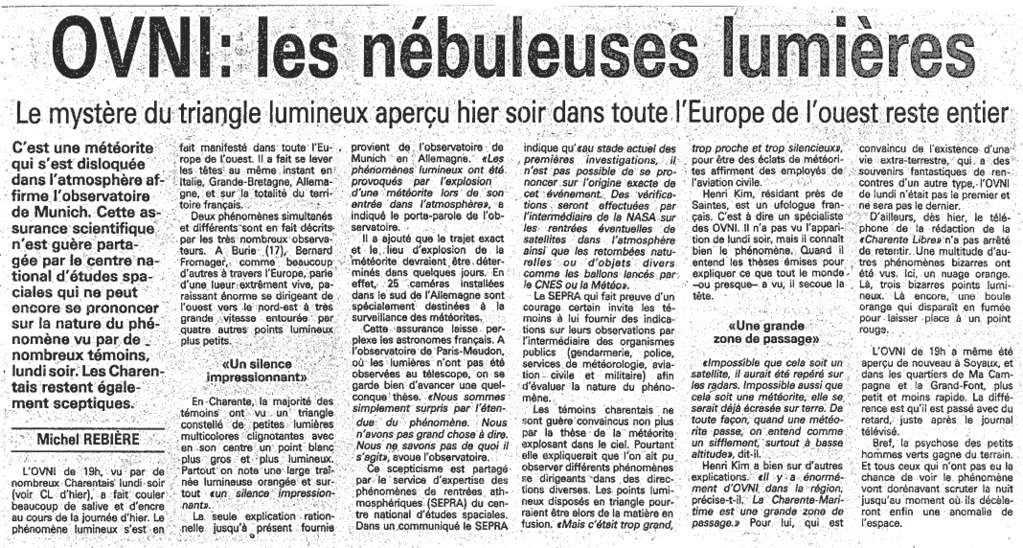 """""""Les dossiers surnaturels"""" : 5 novembre 1990 : La mystérieuse nuit 1990-110"""