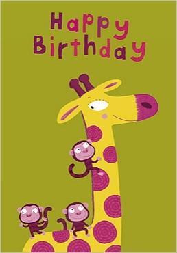 Happy Birthday Giraff Cartes10