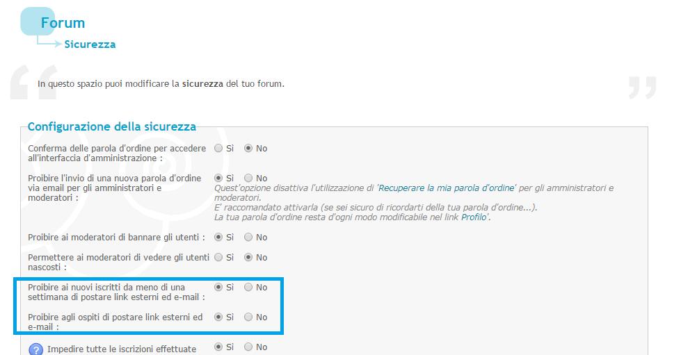 Link attivi nei post solo per gli amministratori: come? He10