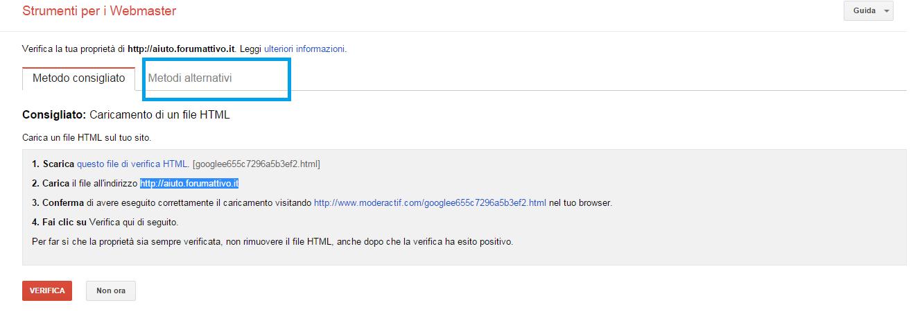 Strumenti google per webmaster su Forumattivo! Step310