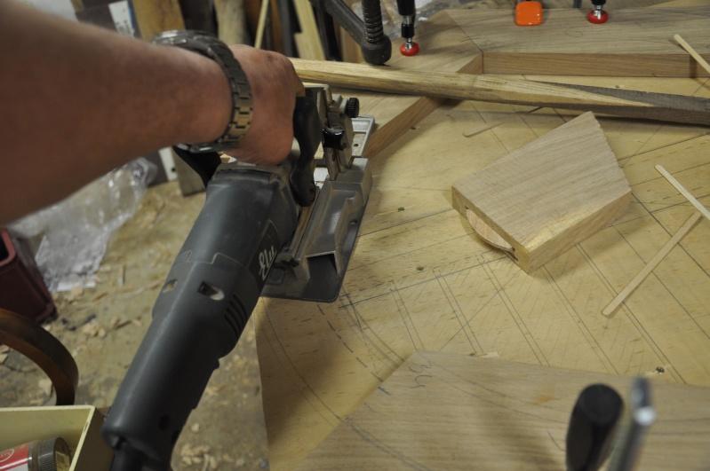Fabrication d'un plateau  en bois pour table de bistrot 00312