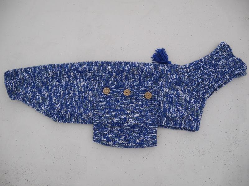 Pull en laine bleu électrique gris et blanc Taille 68cm P1090910