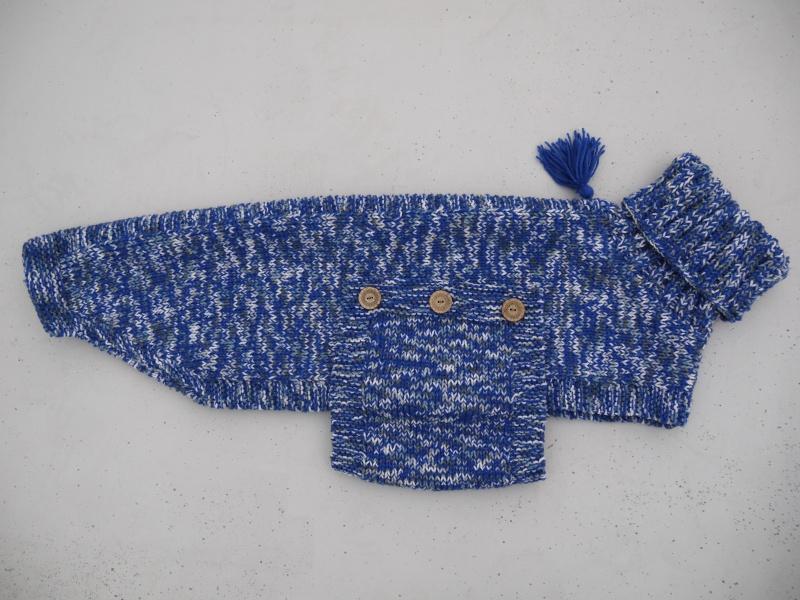 Pull en laine bleu électrique gris et blanc Taille 68cm P1090912