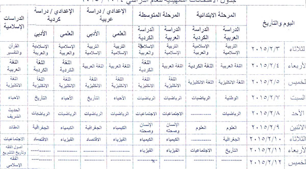موقع نتائج طلاب العراق ينشر جدول الامتحانات الخارجية التمهيدية  2014/2015 96-31110