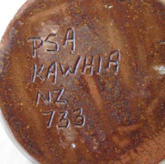 P S A Kawhia is pottery made by Phyllis Atkins Psa_ka10