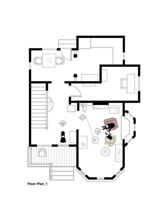 Planta arquitectónica de la casa de la pélicula up