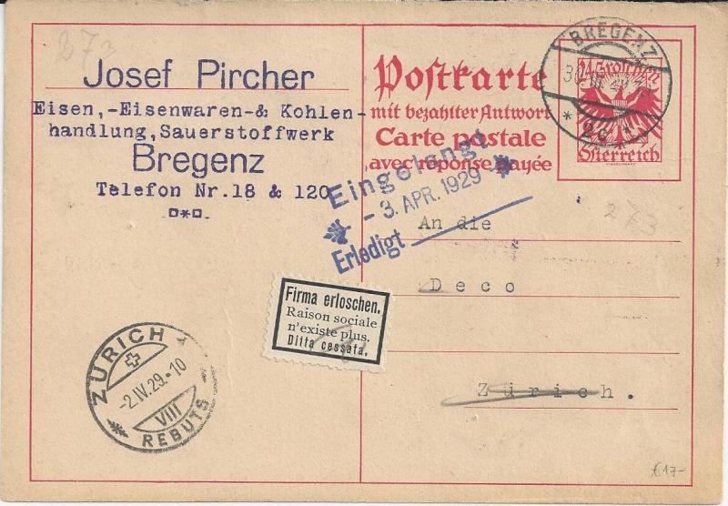 Bedarfspost Ganzsachen Österreich 1925-1938 Bild_620