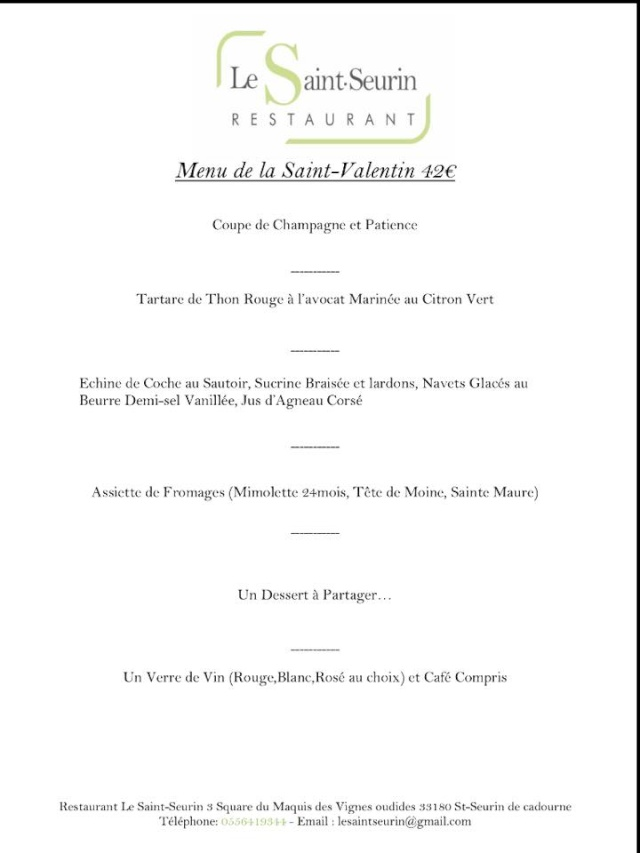 Menu St Valentin au Restaurant Le Saint Seurin 10409110