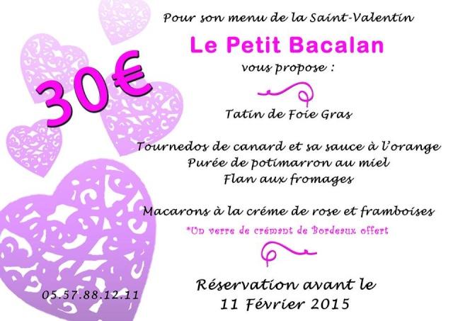 Menu St Valentin au Le Petit Bacalan à Ludon Médoc 10929110